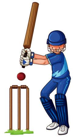 male athlete: Male athlete playing cricket illustration