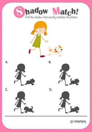 educational problem solving: Game template with shadow matching girl illustration Illustration