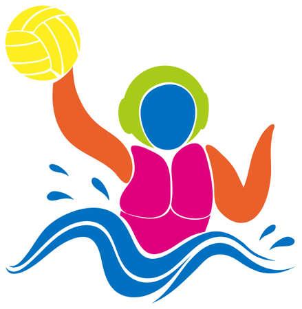water polo: Diseño del icono del deporte para el waterpolo en colores ilustración