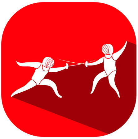 fencing: Sport icon design for fencing on red tag illustration