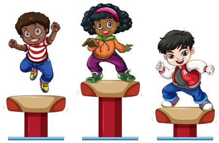 three children: Three children on balance beam illustration