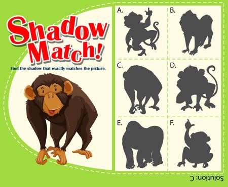 matching: Game template shadow matching monkey illustration
