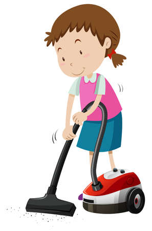 maching: Girl vacumming the floor with machine illustration Illustration