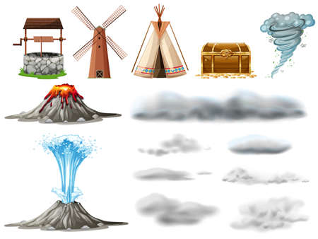 Different types of objects and clouds illustration