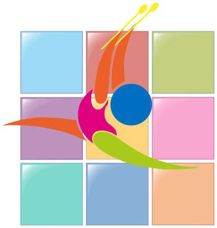 art activity: Sport icon design for for gymnastics with sticks illustration