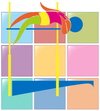 high jump: Sport icon design for high jump in colors illustration