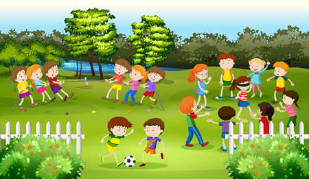 playing games: Kids playing games in the park illustration