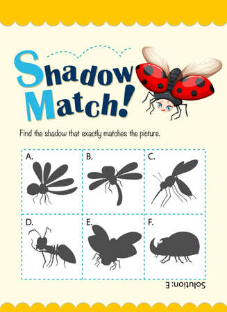 matching: Game template for shadow matching bugs illustration Illustration
