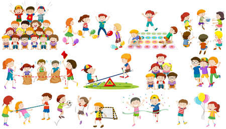 children art: Children play different kind of game illustration