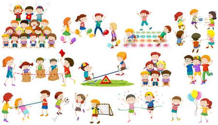 Children play different kind of game illustration
