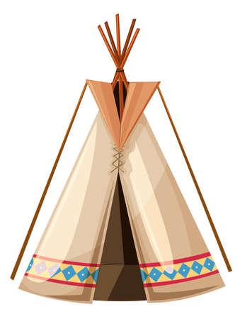 teepee: Teepee with wooden sticks poles illustration