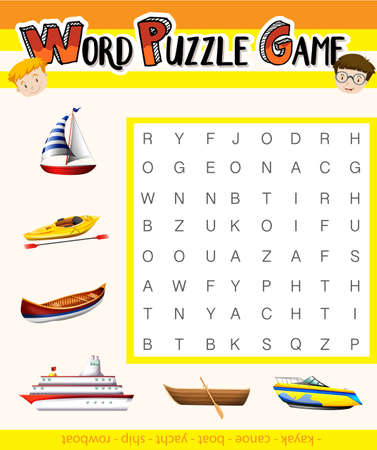 educational problem solving: Game template with words about transportation illustration