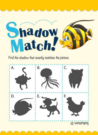game fish: Game template for shadow matching fish illustration Illustration