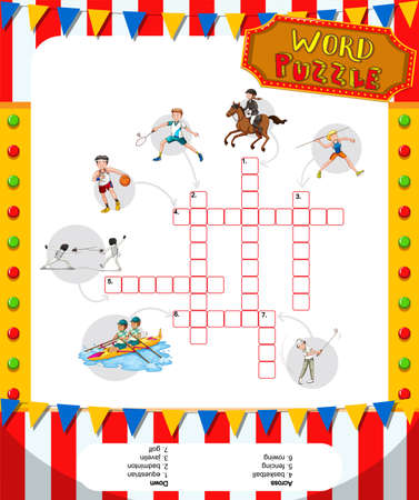 word game: Word game puzzle design with sport theme illustration