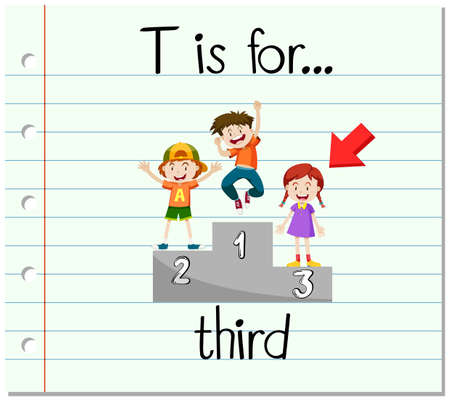 Flashcard letter T is for third illustration