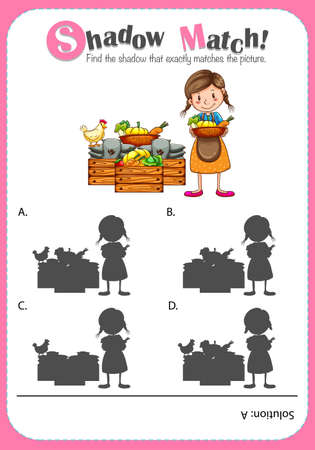 educational problem solving: Game template with shadow matching farm products illustration