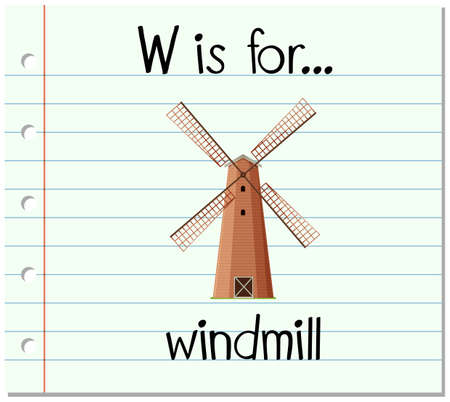 phonetics: Flashcard letter W is for windmill illustration Illustration