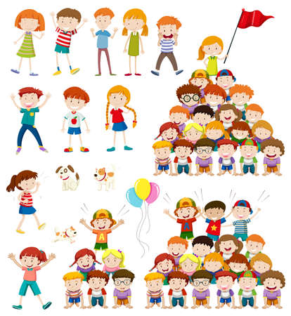 human pyramid: Children and human pyramid illustration