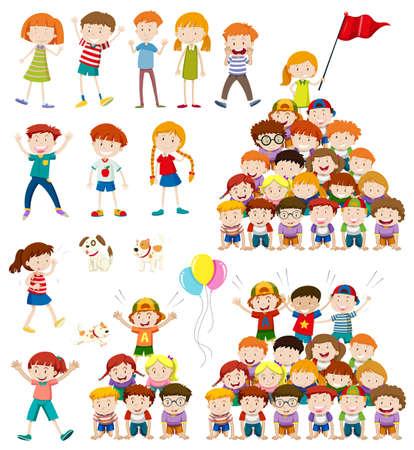human pyramid: Los niños y la ilustración pirámide humana Vectores