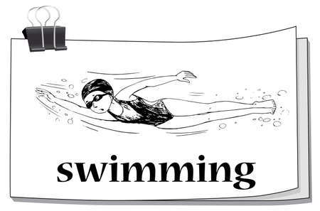 swimming underwater: Doodle athlete swimming underwater illustration Illustration