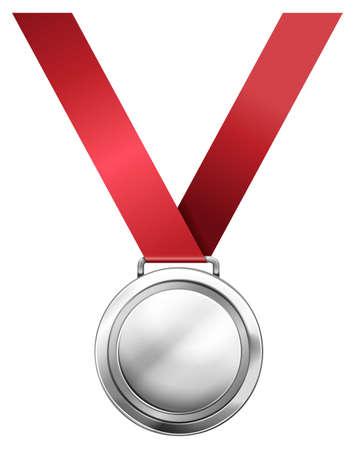 silver medal: Silver medal with red ribbon illustration Illustration