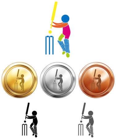 gold silver: Three medals design for cricket illustration