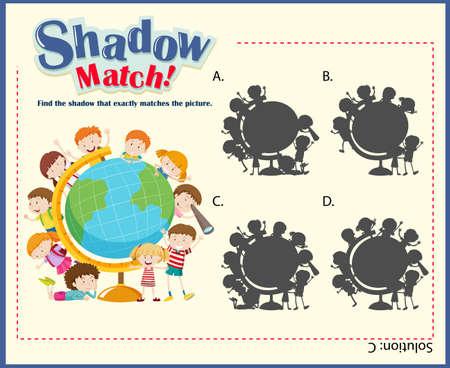 educativo: plantilla de juego para los niños que coinciden con la ilustración sombra