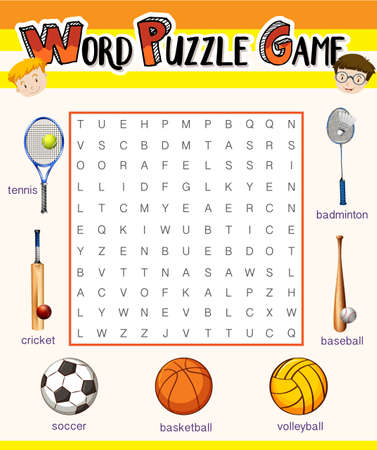 educational problem solving: Game template with sport equipments illustration