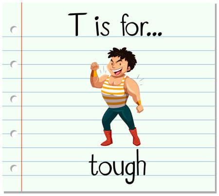 tough man: Flashcard letter T is for tough illustration Illustration