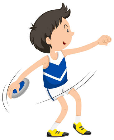 discus: Male athlete doing discus throwing illustration