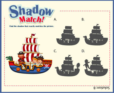 educational problem solving: Game template with shadow matching ships illustration