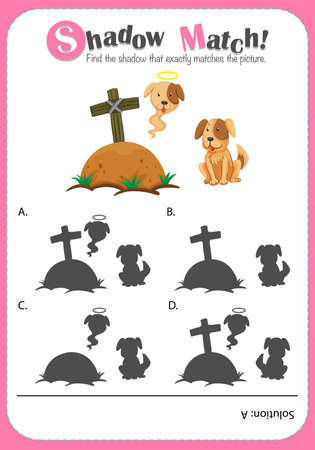 matching: Game template for shadow matching dogs illustration Illustration