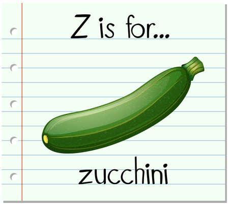 Flashcard letter Z is voor courgette illustratie