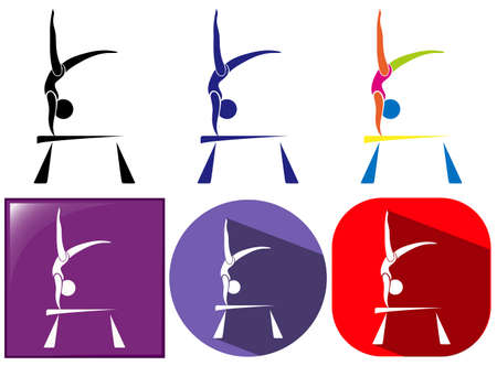 gymnastics: Sport icon design for gymnastics with beam illustration Illustration