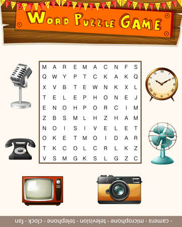 word game: Word puzzle game template with many objects illustration