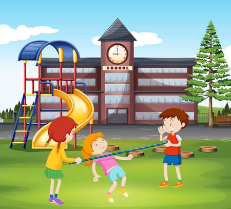 recess: Children playing with bar in the playground illustration Illustration