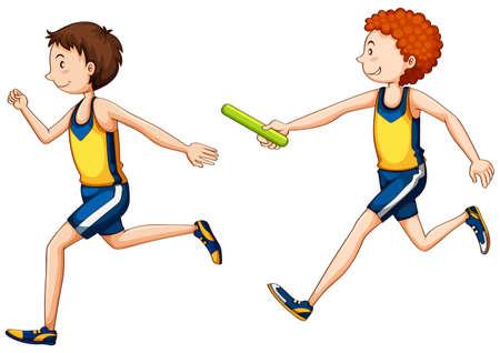 carrera de relevos: Dos correr ilustración carrera haciendo relé Vectores