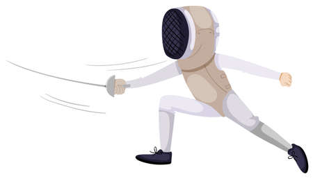 fencing sword: Person doing fencing with sword illustration Illustration