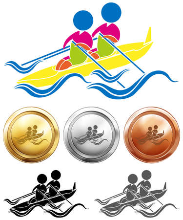 medals: Kayaking icon and sport medals illustration Illustration