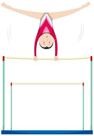 Woman athlete doing gymnastics on uneven bars illustration