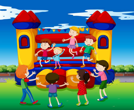 Kids bouncing on the playhouse illustration