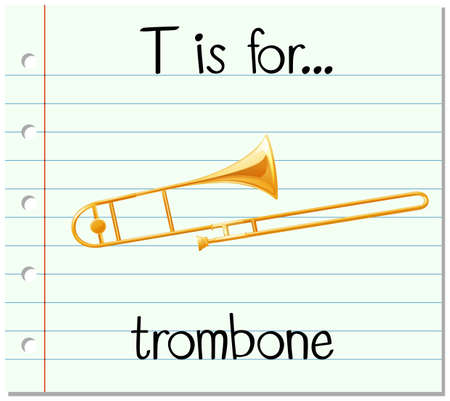 Flashcard letter T is for trombone illustration