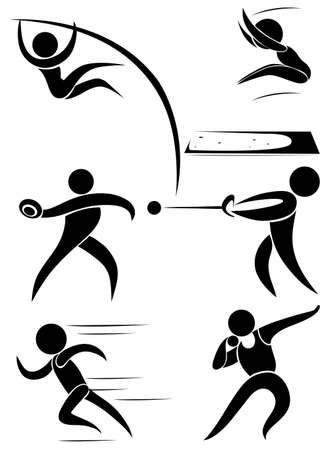 track and field: Sport icon design for many sports illustration