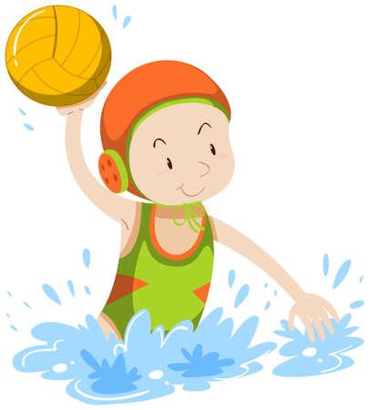 waterpolo: Atleta ilustración de waterpolo haciendo