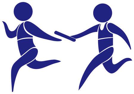 carrera de relevos: El logotipo del deporte para la ilustraci�n del rel� de funcionamiento
