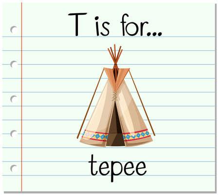 teepee: Flashcard letter T is for teepee illustration