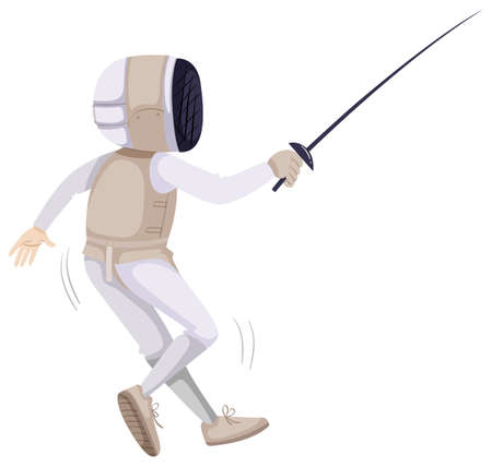 fencing sword: Athlete in fencing outfit with sword illustration