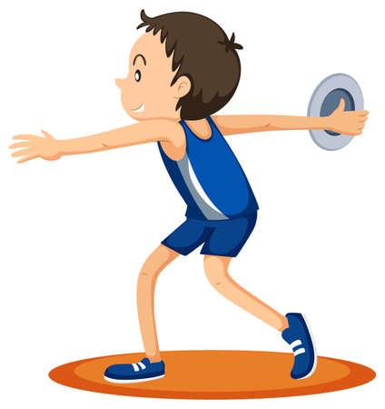 throwing: Man athlete throwing discus illustration Illustration