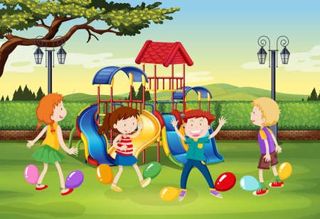 popping: Children playing balloon popping in the park illustration