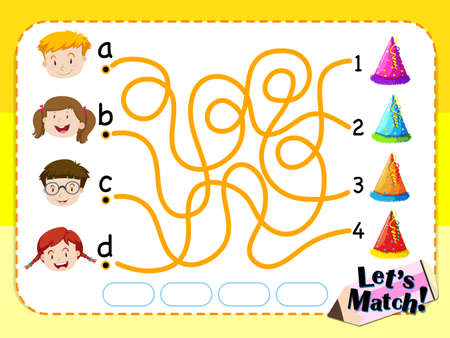 matching: Game template with matching kids and hats illustration